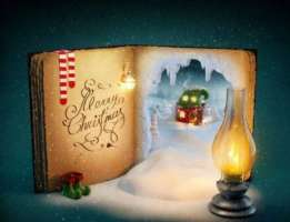 Old Christmas book covered in snow
