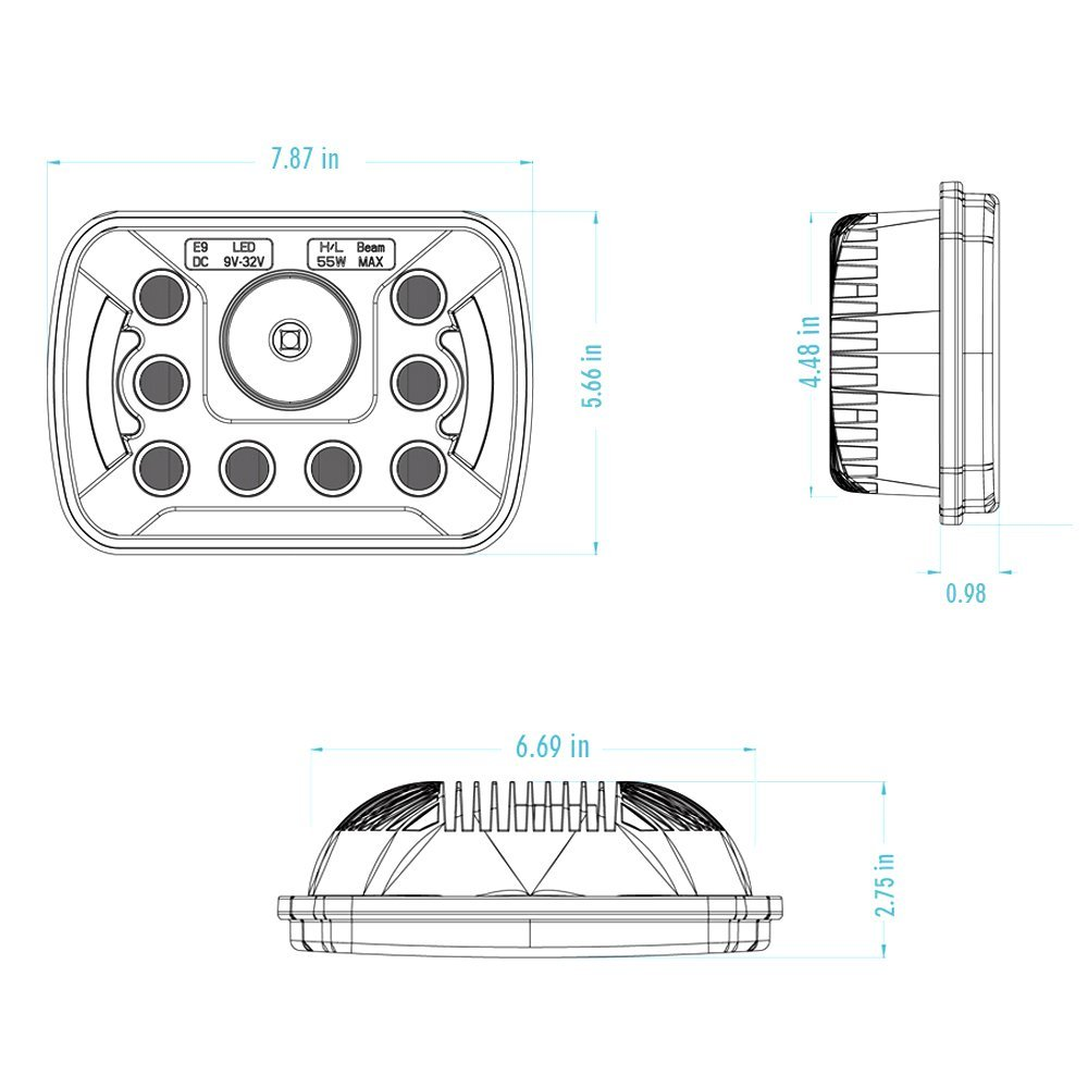 Car accessories 5x7 square led headlight for jeep yj