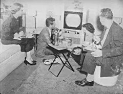 Family Eating TV Dinners in 1952