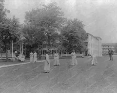 Women playing croquet in the late 1800's