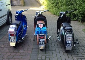 Tony Wright and his mates have these plates on their scooters. They call themselves 'The Three Muffketeers'