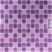 Clear Glass Mosaic Tiles Purple Mix | www.mosafil.co.uk