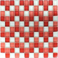 Clear Glass Mosaic Tiles White Red 25x25x8mm | www.mosafil ...
