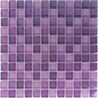 Crystal Glass Mosaic Tiles Purple Mix 25x25x8mm | www ...