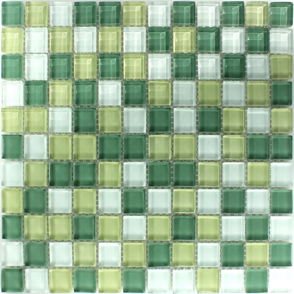 Crystal Glass Mosaic Tile Yellow Green 25x25x8mm