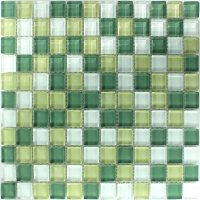 Crystal Glass Mosaic Tile Yellow Green 25x25x8mm | www ...