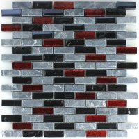 Effect Marble Glass Mosaic Tiles Black Red Grey - HT88420m
