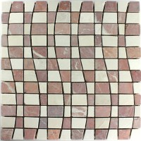 Marble Mosaic Tiles Wave Optic Rosso Mix - HT88170m