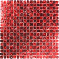 Glass Natural Stone Mosaic Tiles Fire Red | mosafil.co.uk