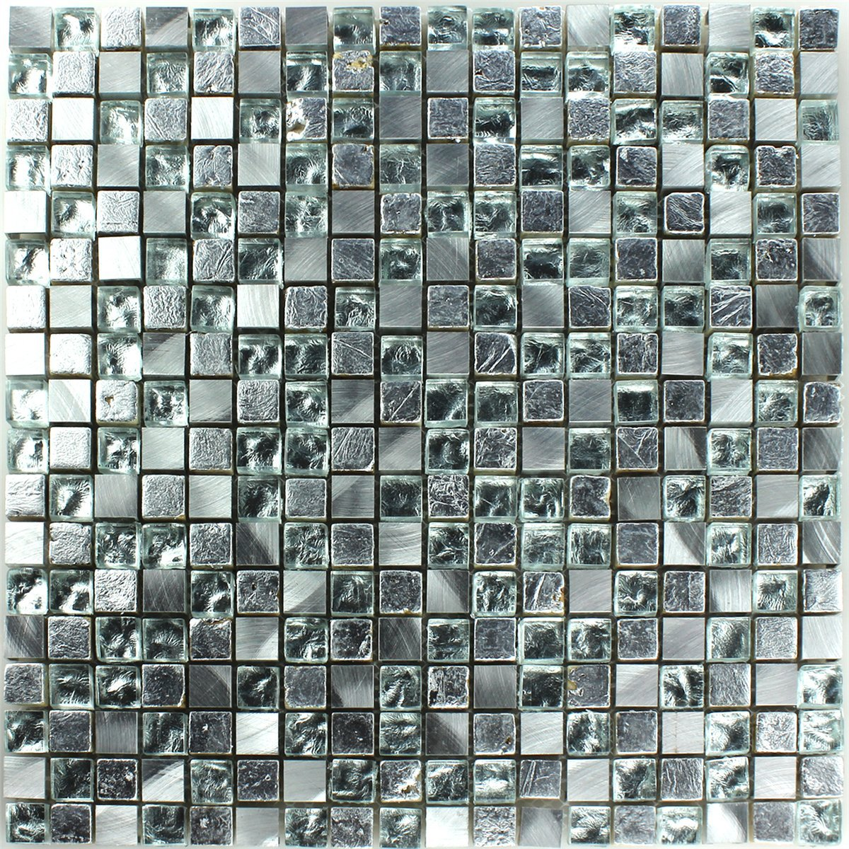 Glass Natural Stone Mosaic Tiles Silver