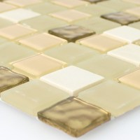 Self Adhesive Natural Stone Glass Mosaic Tiles Gold - TM33426