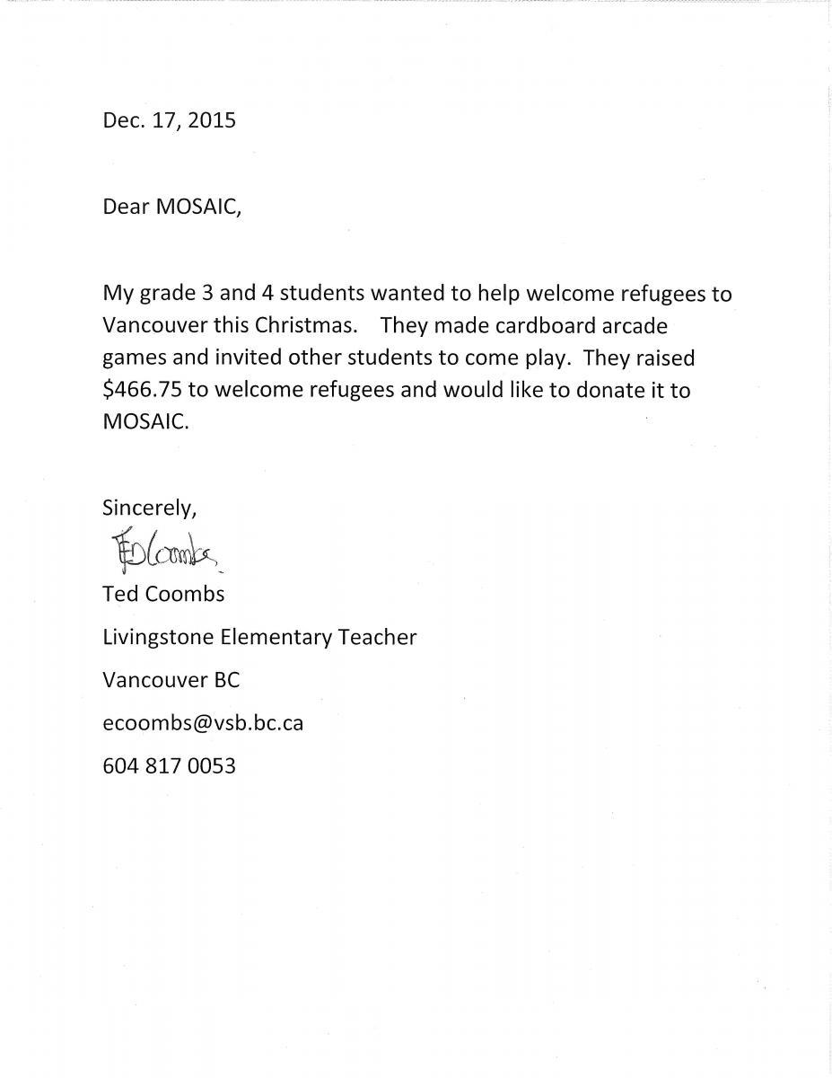 Teacher's Letter MOSAIC
