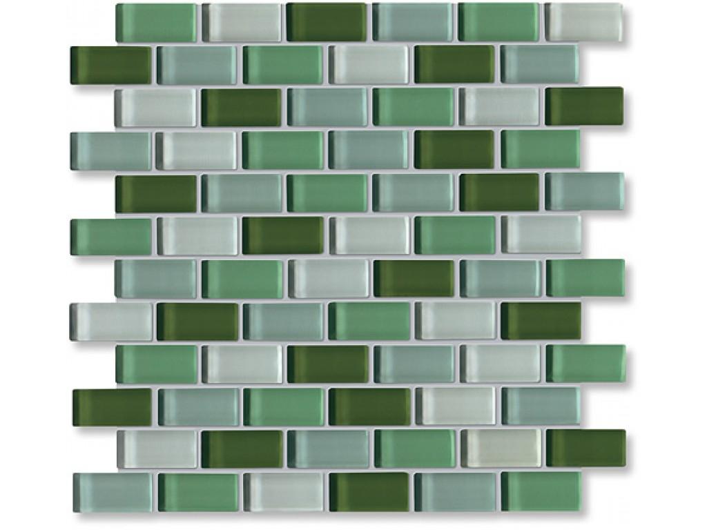 crystal glass green mix glossy brick pattern mosaic