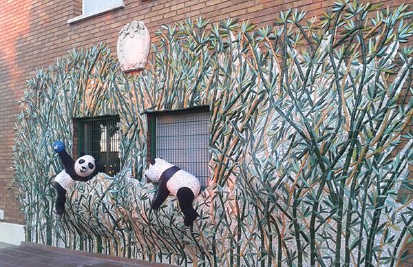 Panda World mural, 12m x 3'5m, La Miranda School, Barcelona, 2015.