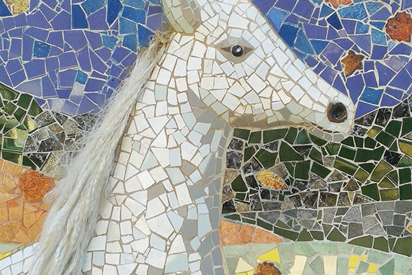 Four seasons mural, Autumn, 7m x 2'60m, horse head detail, La Miranda School, Barcelona, 2015.