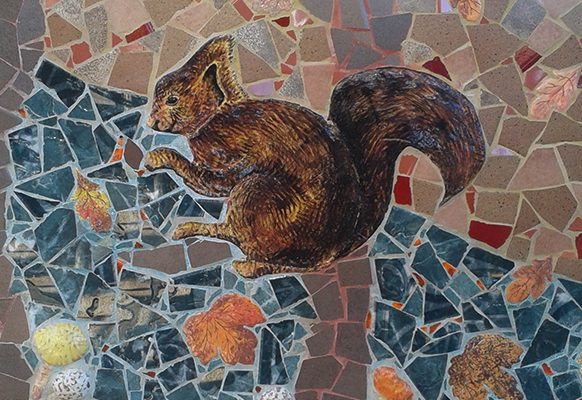 Four seasons mural, Autumn, 7m x 2'60m, ceramic squirrel detail, La Miranda School, Barcelona, 2015.
