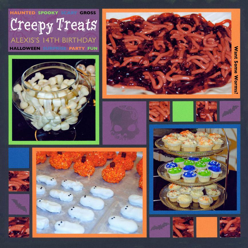 Halloween Scrapbook Pages - Neon