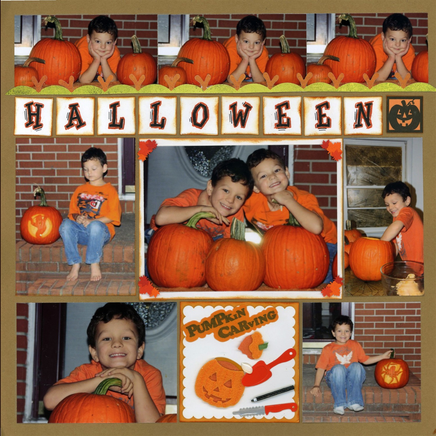 Halloween Scrapbook Page - Traditional Embellishments
