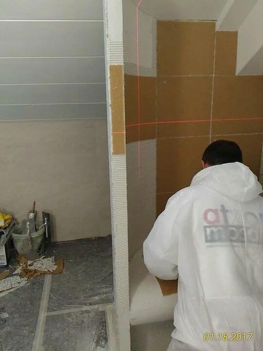 Posa mosaico 10 x 10 su parete tonda Wedi