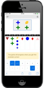 Screen shot of the coloured shapes game by Mosaic Tasks