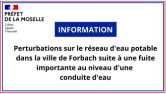 Perturbations sur le réseau d'eau potable dans la ville de Forbach