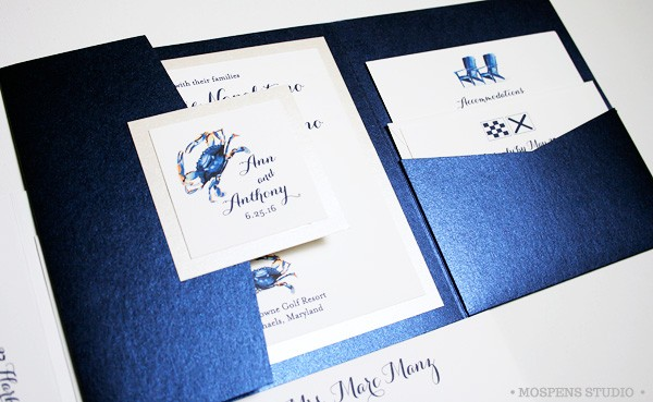 Chesapeake Bay Blue Crab Wedding Invitations Custom Unique Watercolor Art Personalized Stationery