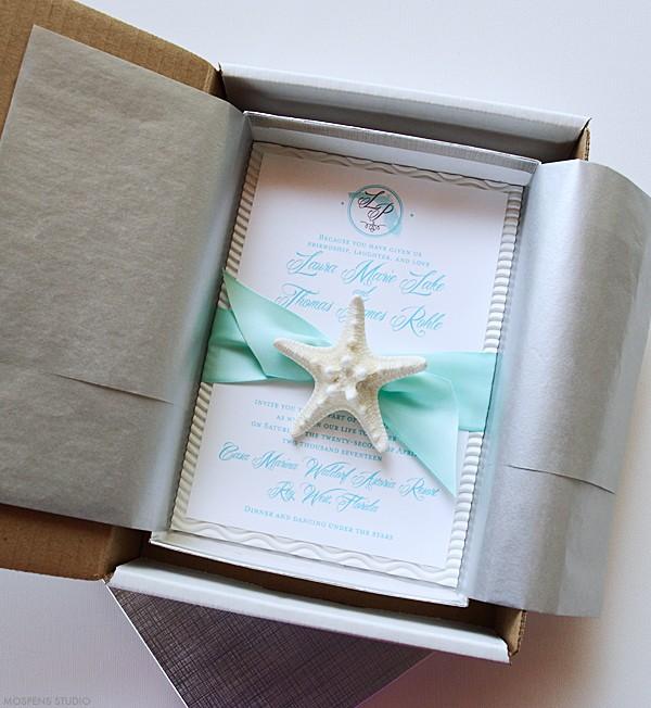 Beach Theme Destination Wedding Invitations In A Box Mospensstudio
