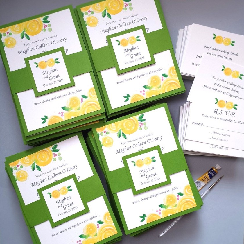 Yellow And Green Custom Wedding Invitations With Watercolor Rose Blooms By Artist Mice Mospens