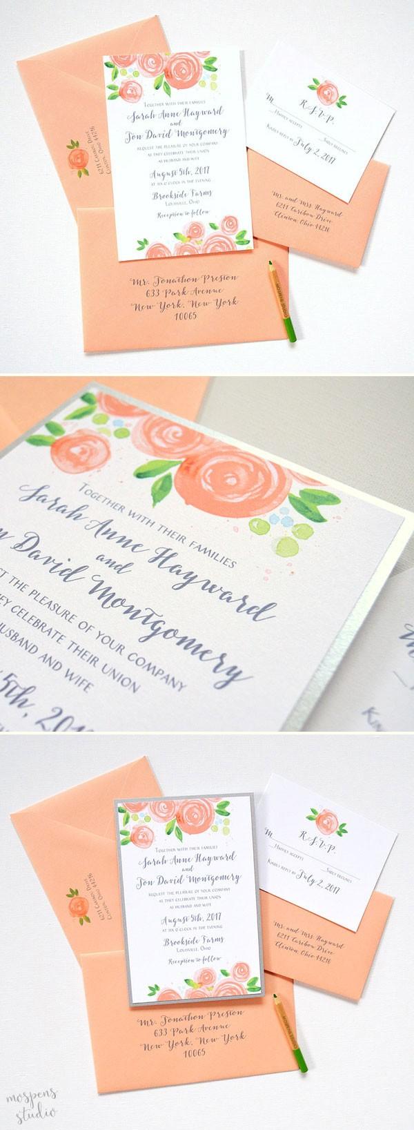 Peach Rose Blooms Wedding Invitations By Artist Mice Mospens 100 Original