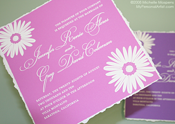 Handmade Wedding Invitations Gerbera Daisy Invitation With Daisies