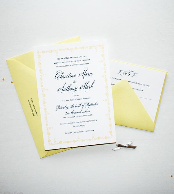 Yellow And Gray Vine Wedding Invitations Mospens Studio