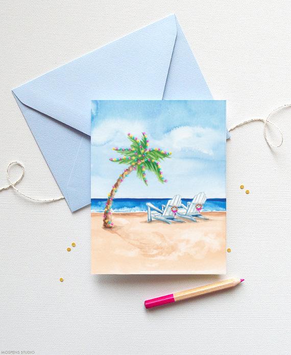 Beach Themed Coastal Christmas Cards Mospens Studio
