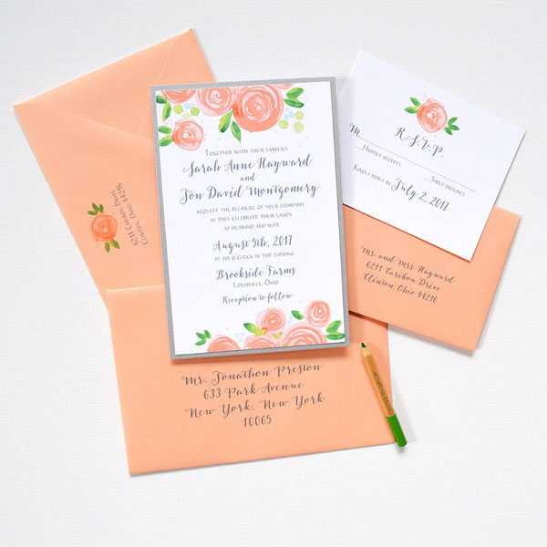 Simple Wedding Invitations In Peach