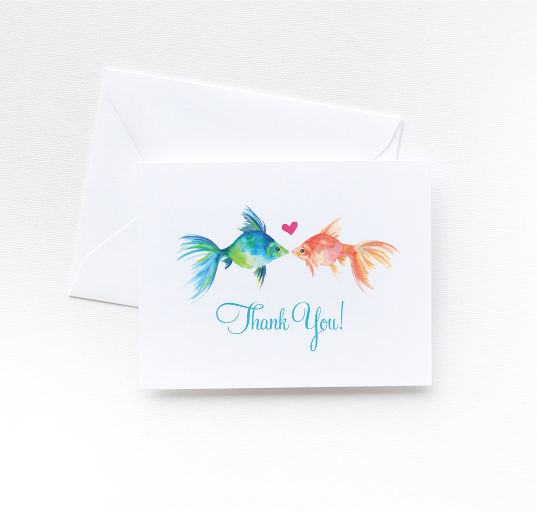 Watercolor two fish thank you cards by artist Michelle