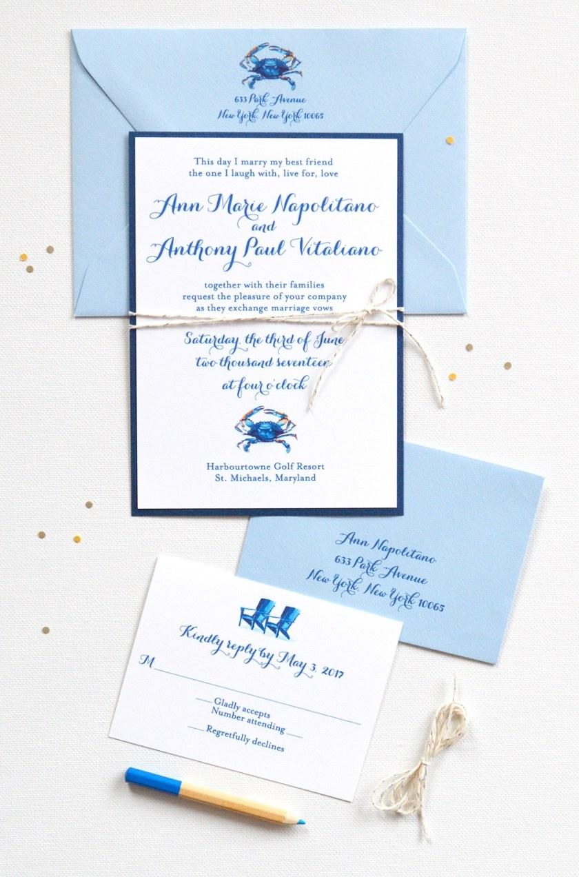 Watercolor Blue Crab Nautical Layered Handmade Wedding Invitations By Artist Mice Mospens Studio