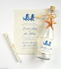Beach Wedding Invitations Painted Beach Chairs Glass Bottles
