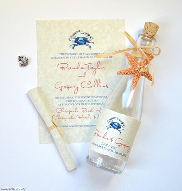 Beach Wedding Invitations Blue Crab Gl Bottles