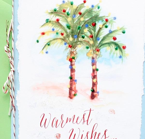 Handmade Palm Trees Christmas Card Super Unique Wedding