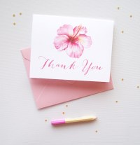 Watercolor Hibiscus Thank You Cards