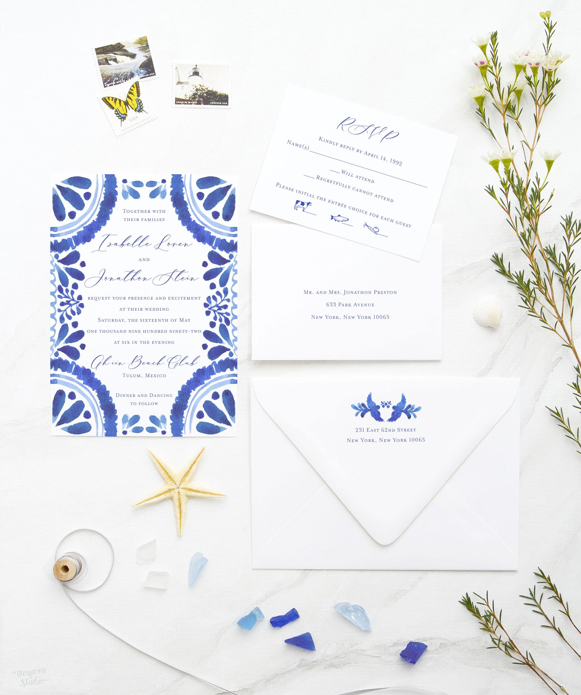 royal blue mexican tile wedding invitations