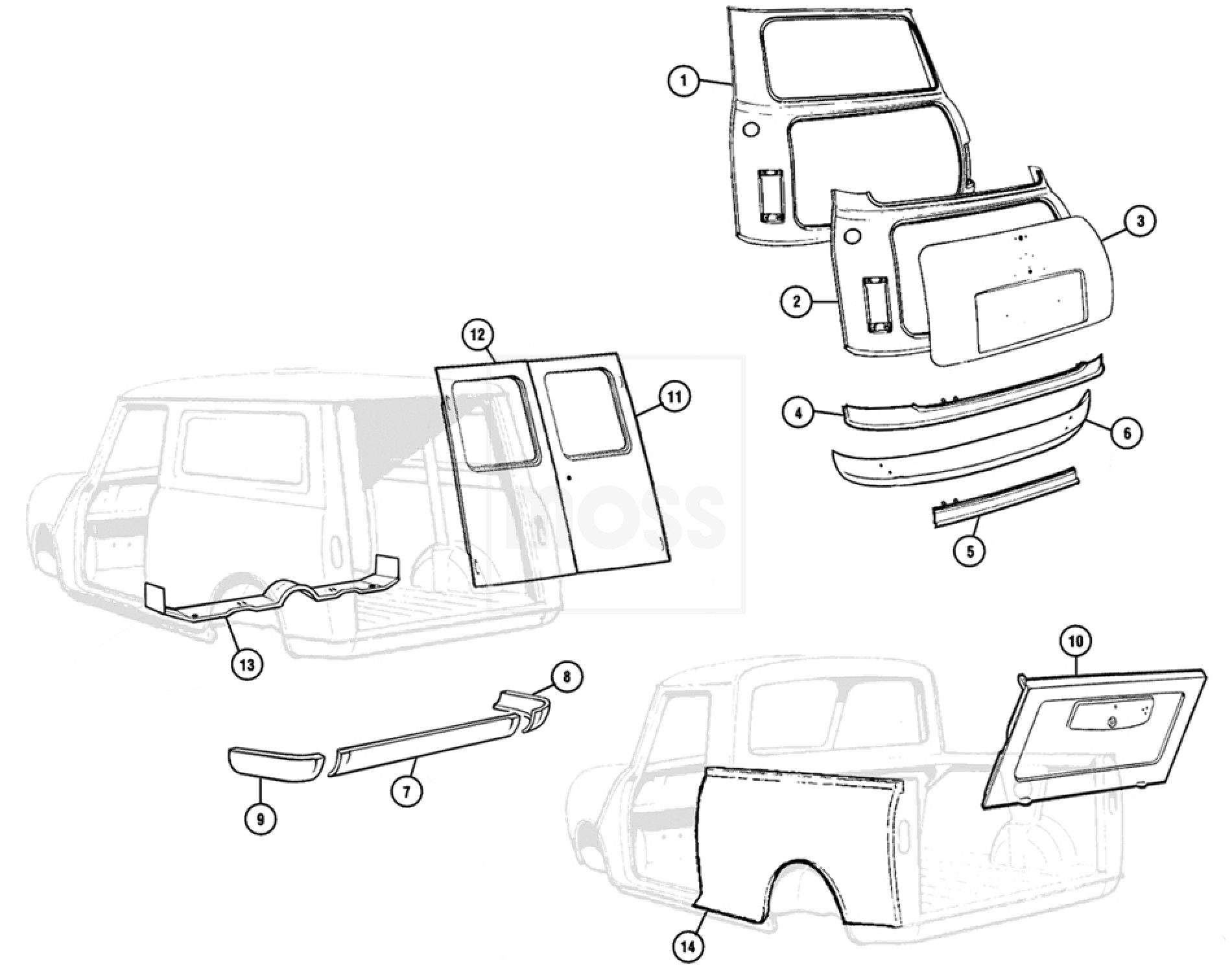 Body Panels: Rear, Saloon, Van & Pickup Models: Mini