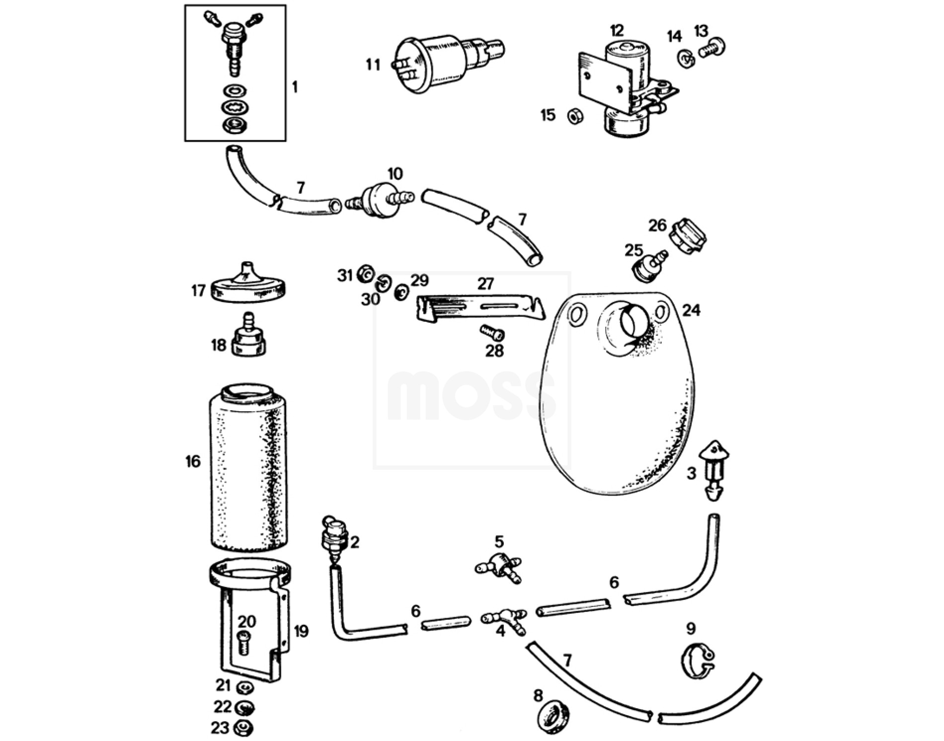 Windscreen Washer System: MGB
