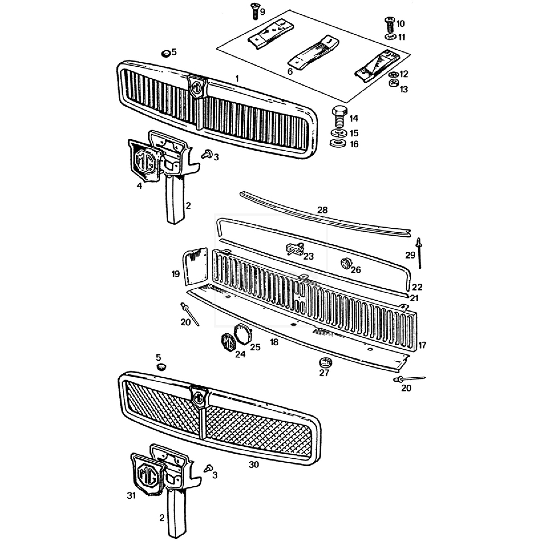 Grille & Fittings: MGB Chrome Bumper