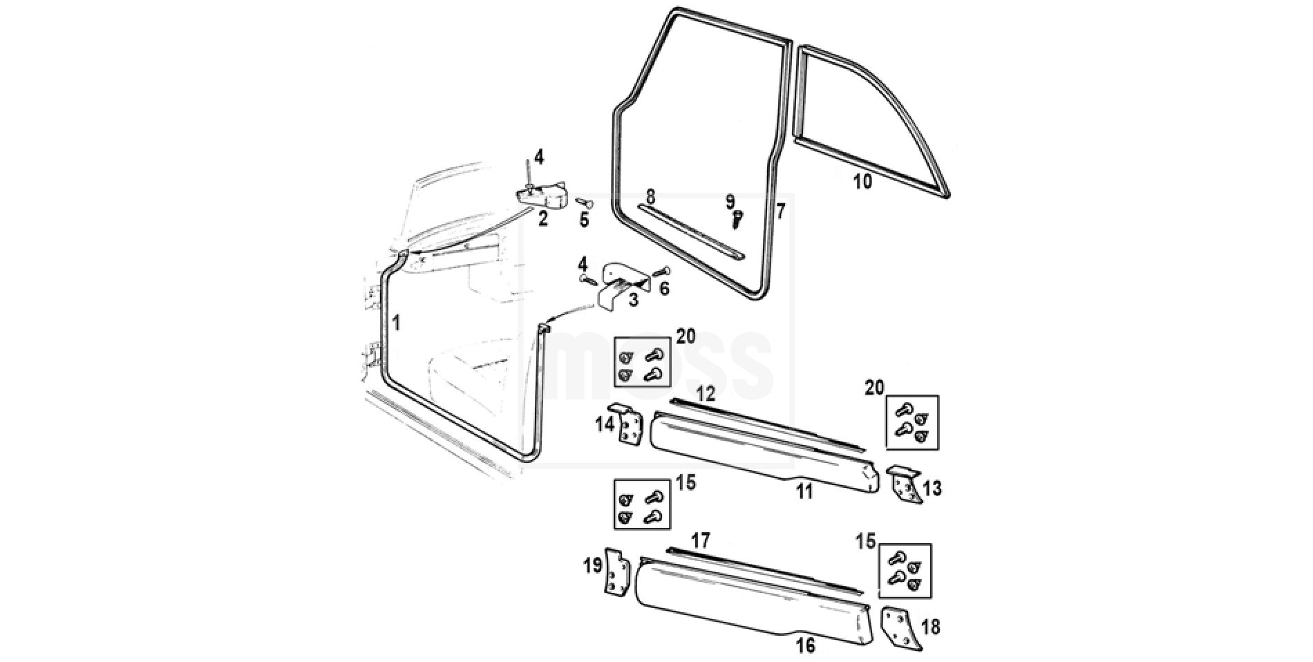 Door Seals, Finishers & Fittings: MGB