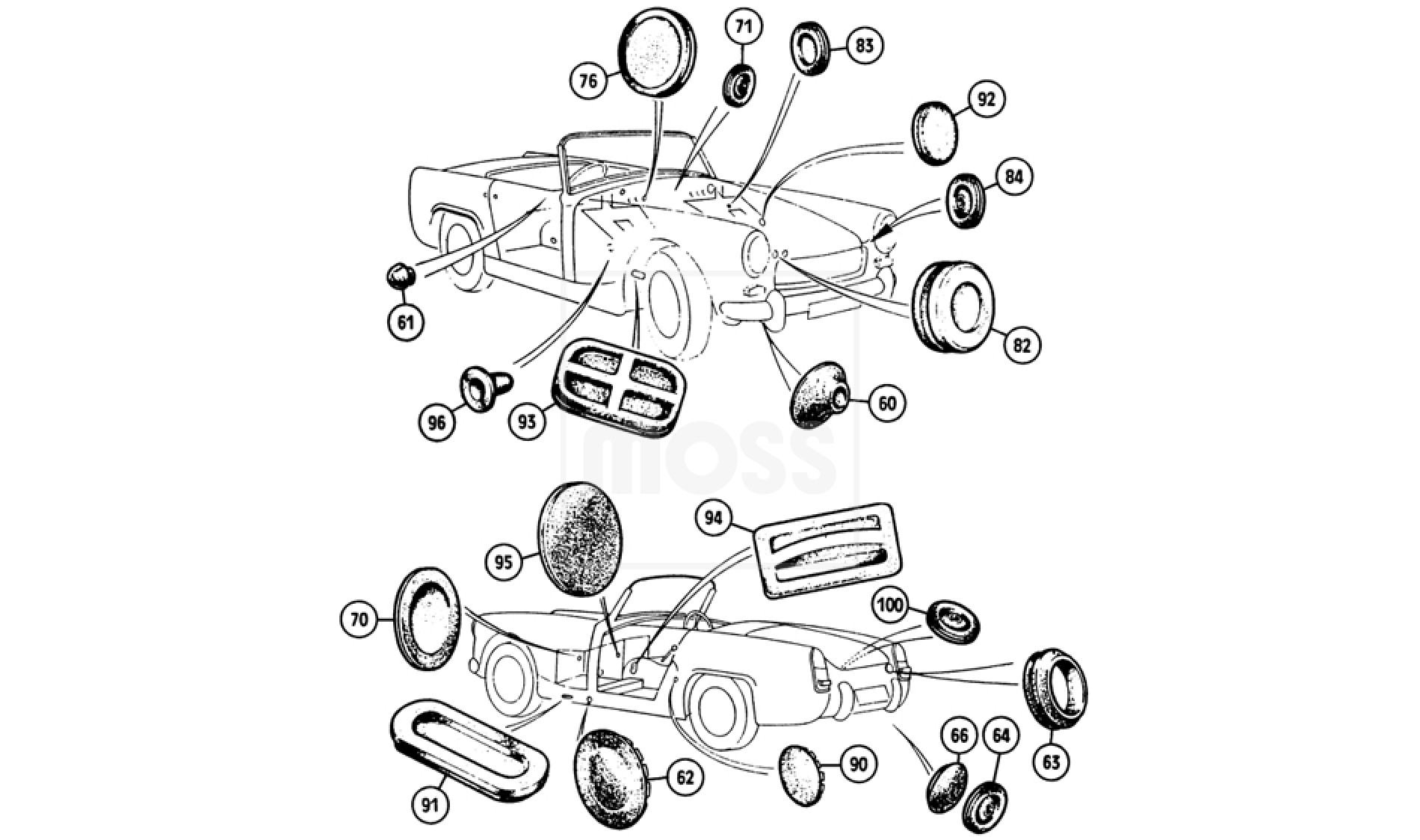 Midget Body & Chassis BODY PANELS Grommets, Plugs & Covers