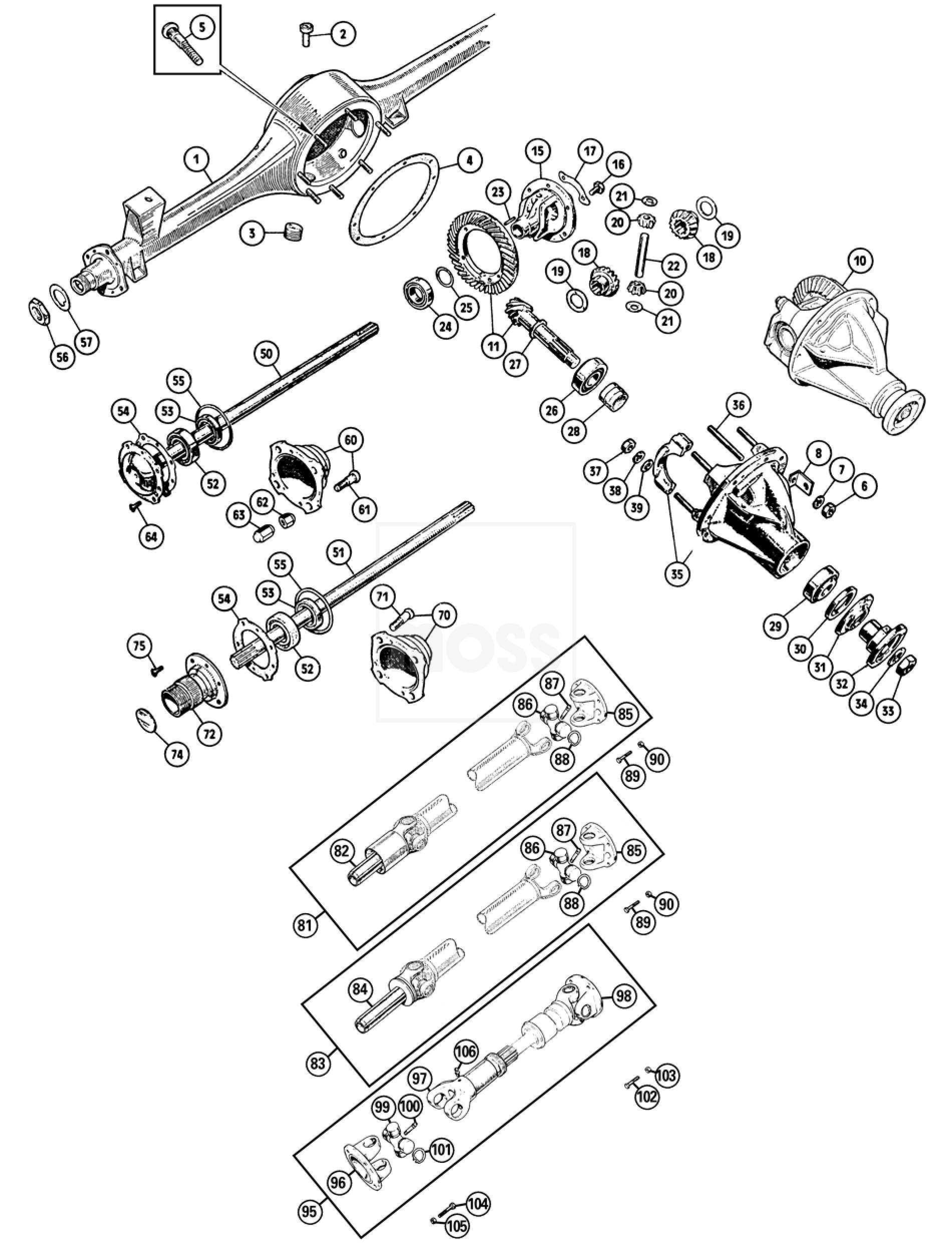 Propshaft & Rear Axle: Sprite & Midget 1275-1500cc