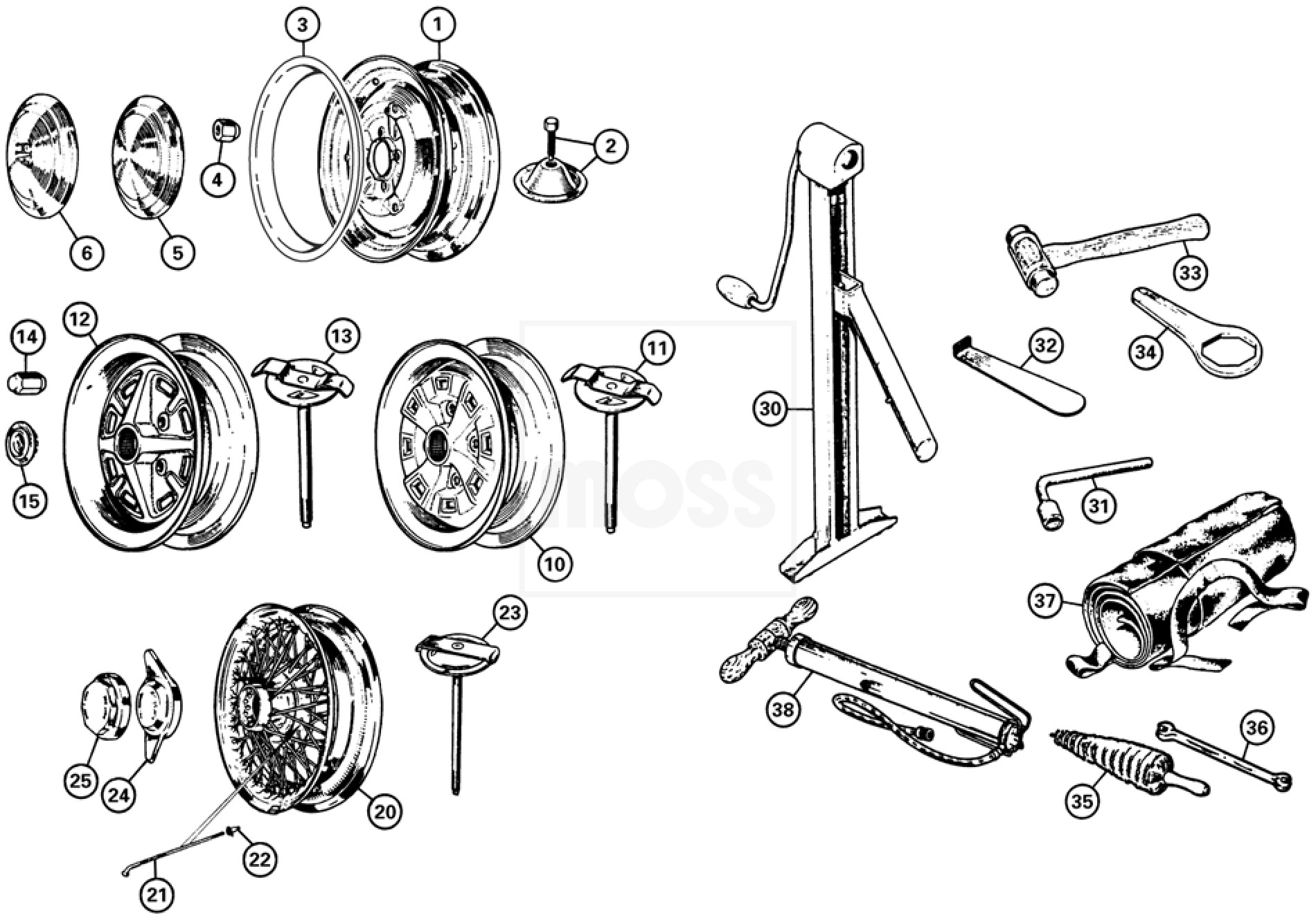 Road Wheels & Fittings: Sprite & Midget 1275-1500cc