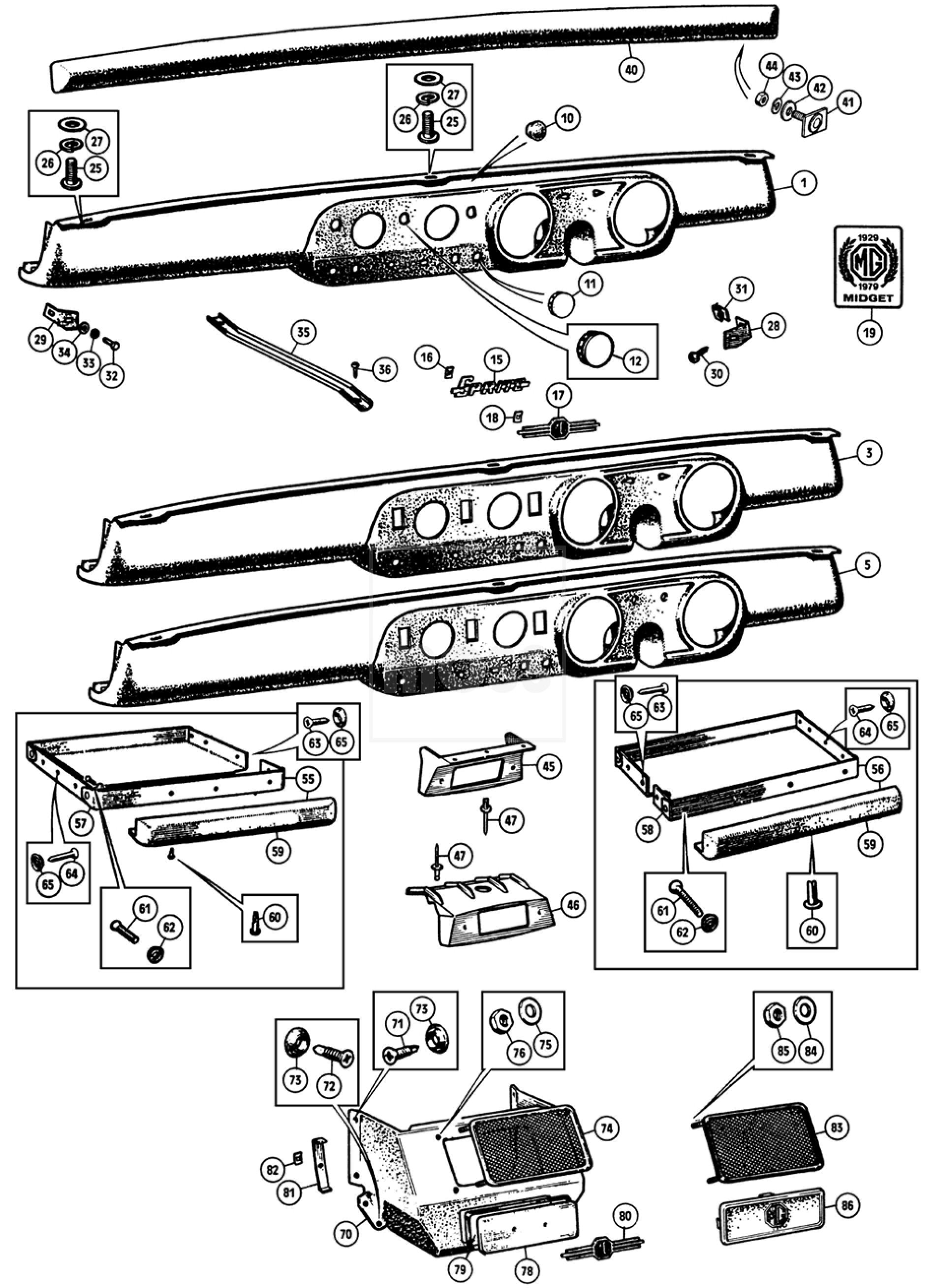 Dash/Fascia Panels: Sprite & Midget 1275-1500cc