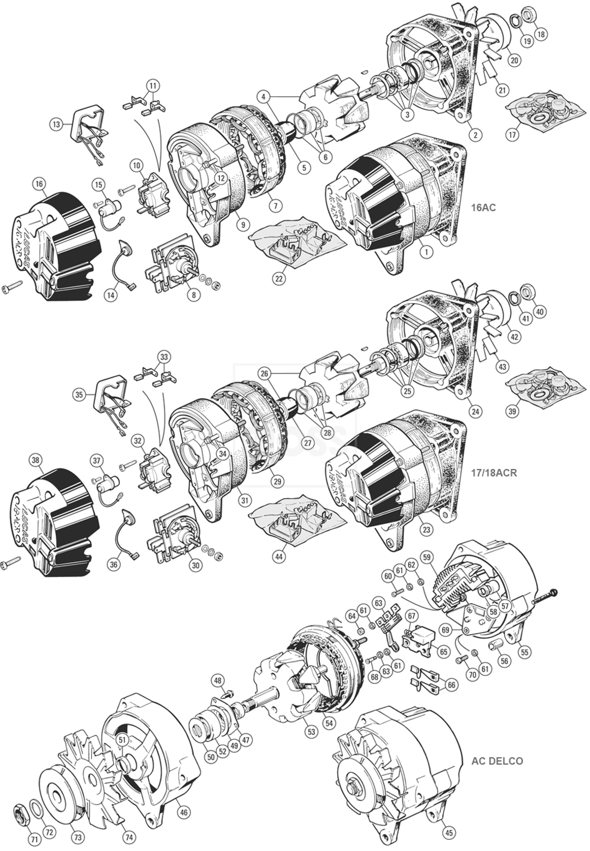 Alternator & Fittings: Lucas 16ACR, 17ACR, 18ACR, AC Delco