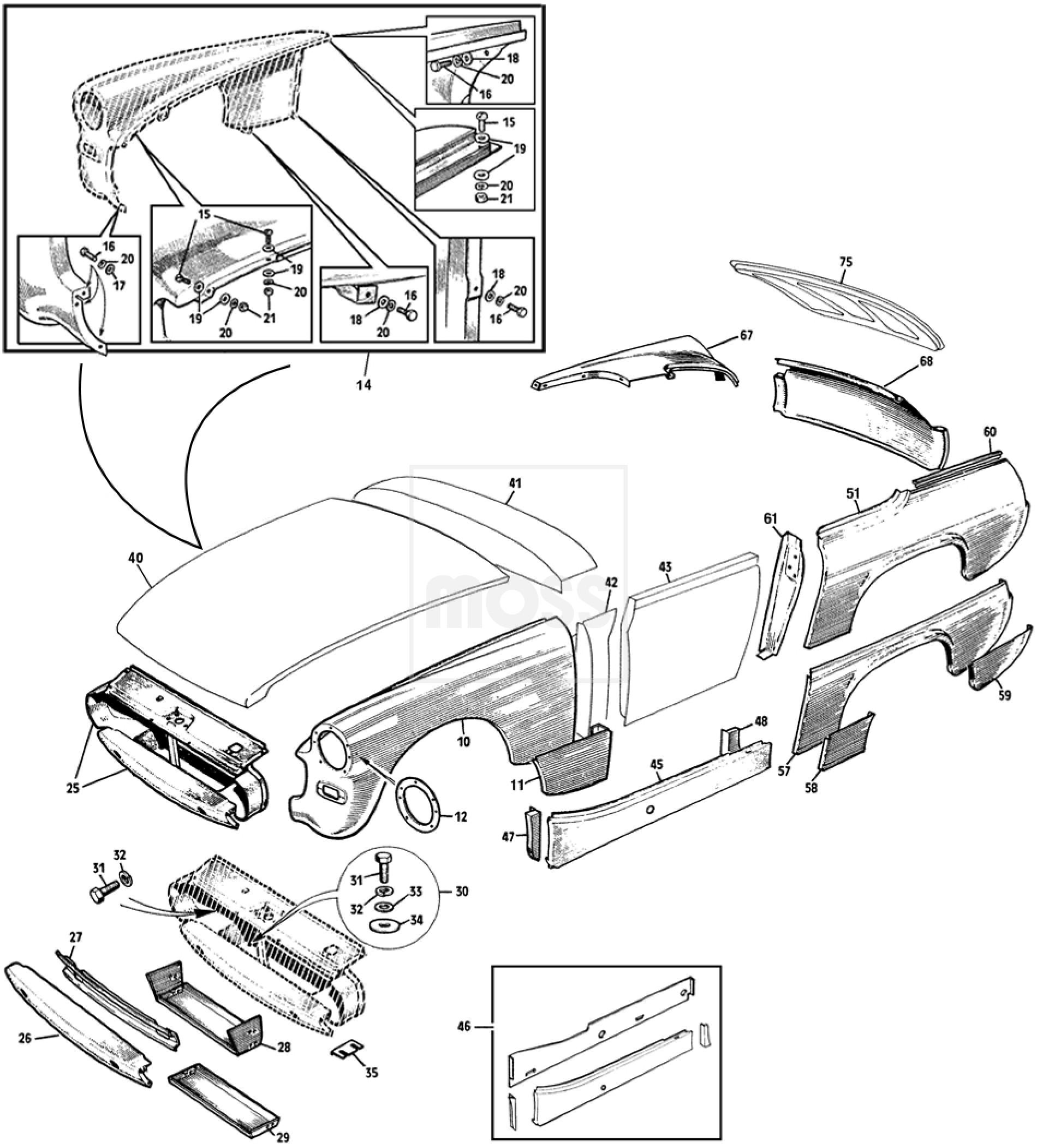 Front & Rear Outer Body Panels: Sprite II, III & Midget I, II